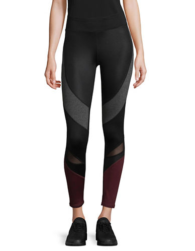 Marc New York Performance Mixed Fabric Compression Leggings-BURGUNDY-Small