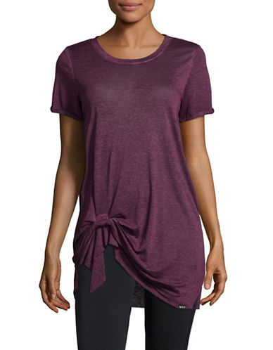 Marc New York Performance Pleated Front Knot T-shirt-PURPLE-X-Large