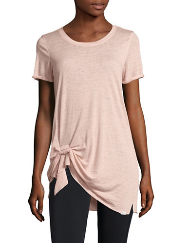 Marc New York Performance Pleated Front Knot T-shirt-PINK-Large