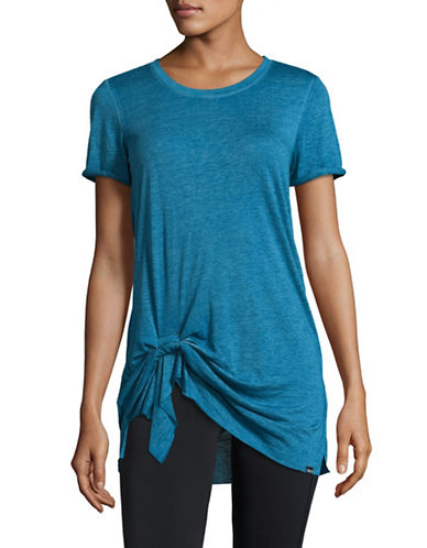 Marc New York Performance Pleated Front Knot T-shirt-BLUE-Large