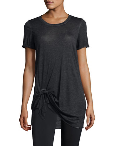 Marc New York Performance Pleated Front Knot T-shirt-BLACK-Medium