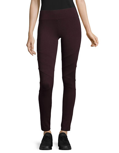Marc New York Performance Ponte Moto Leggings-BURGUNDY-Large