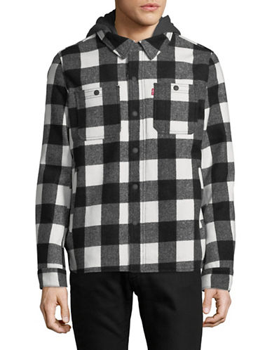 LeviS Plaid Wool-Blend Hooded Shirt Jacket-WHITE-Large