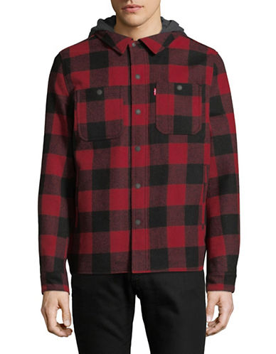 LeviS Plaid Wool-Blend Hooded Shirt Jacket-RED-Large