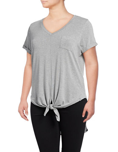 Marc New York Plus Hi Lo Tie Hem Tee-LIGHT GREY HEATHER-3X