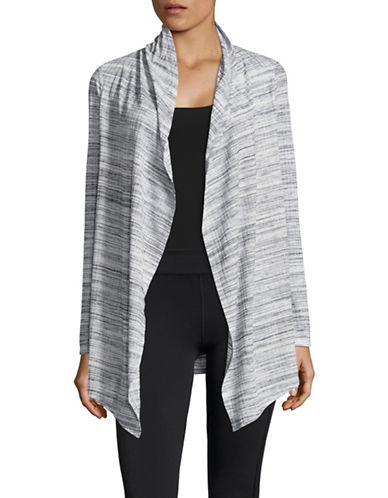 Marc New York Performance Ribbed Space Dye Flyaway Cardigan-BLACK MULTI-Small