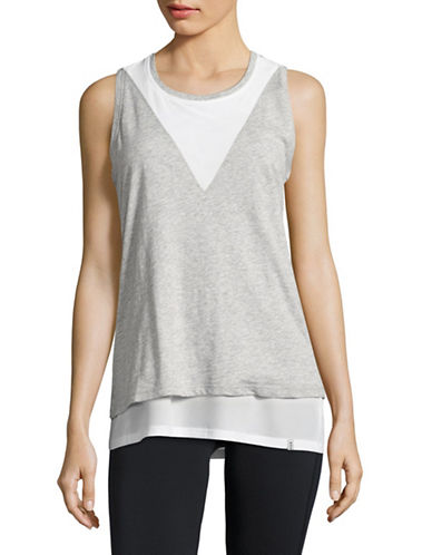 Marc New York Performance Mesh Twofer Tank-LIGHT GREY HEATHER/WHITE-Medium