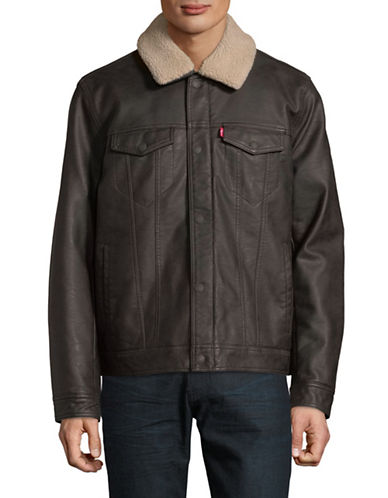 LeviS Classic Faux Fur-Trimmed Trucker Jacket-DARK BROWN-Small