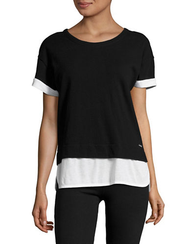 Marc New York Performance Short Sleeve 2-Fer Stripe T Shirt-BLACK/WHITE-X-Small 89103584_BLACK/WHITE_X-Small