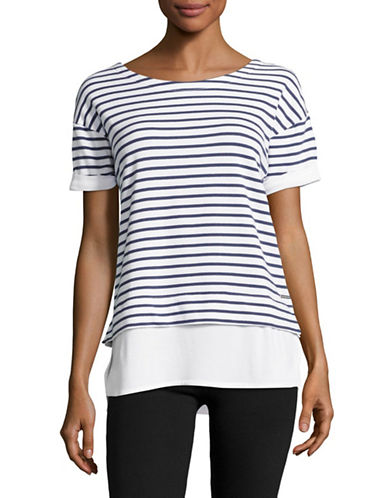 Marc New York Performance Short Sleeve 2-Fer Stripe T Shirt-RAINFALL/WHITE-Small 89103590_RAINFALL/WHITE_Small