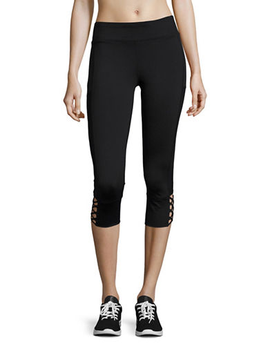 Marc New York Performance Mesh and Lace-Up Crop Leggings-BLACK-X-Small 89020048_BLACK_X-Small