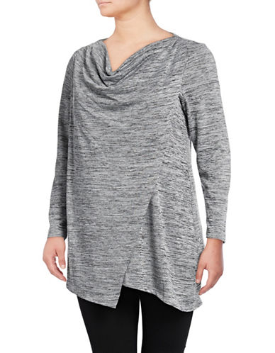Marc New York Plus Cowl Neck Pullover Sweater-GREY HEATHER-1X