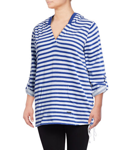Marc New York Plus Striped Fleece Sweater-BLUE-3X