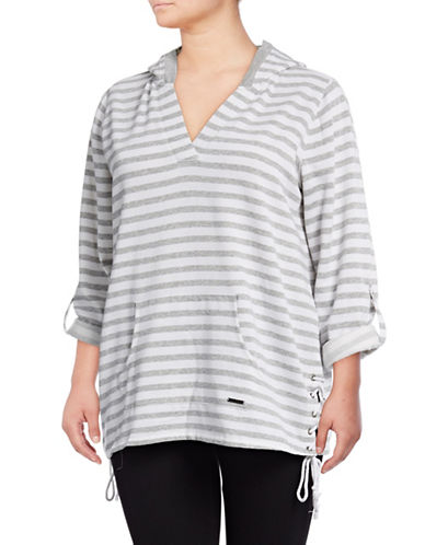 Marc New York Plus Striped Fleece Sweater-LIGHT GREY/WHITE-3X
