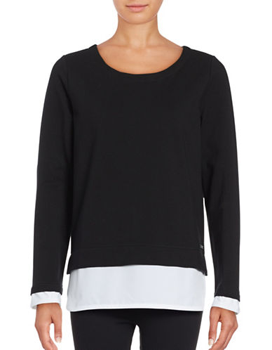 Marc New York Performance Round Neck Knit Top with Woven Hem-BLACK/WHITE-Small 88920398_BLACK/WHITE_Small