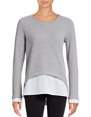 Marc New York Performance Hi-Lo Waffle Knit Top-GREY-Small 88840644_GREY_Small
