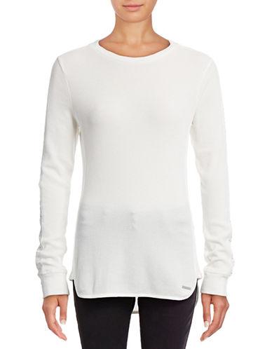 Marc New York Performance Embellished Waffle Knit Top-WINTER WHITE-Medium 88840635_WINTER WHITE_Medium