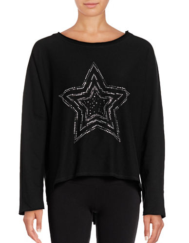 Marc New York Performance Rhinestone Star Hi-Lo Sweatshirt-BLACK/SILVER-Small 88840619_BLACK/SILVER_Small