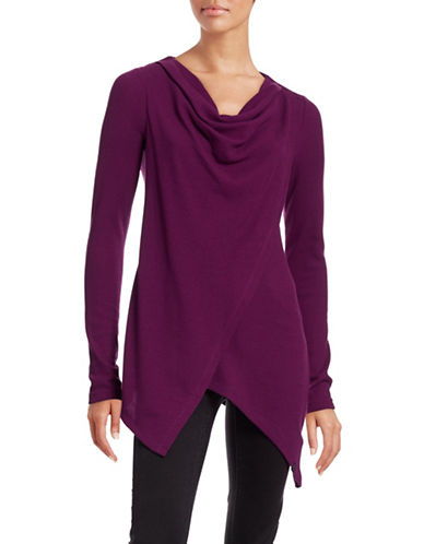 Marc New York Performance Asymmetric Drape Neck Top-PURPLE-X-Large 88585412_PURPLE_X-Large