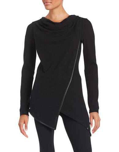 Marc New York Performance Asymmetrical Knit Cowl Neck Top-BLACK-Small 88860236_BLACK_Small