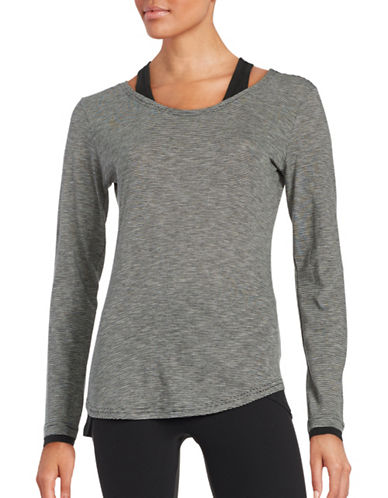 Marc New York Performance Cold Shoulder Athletic Top-BLACK GREY-X-Small 88860222_BLACK GREY_X-Small