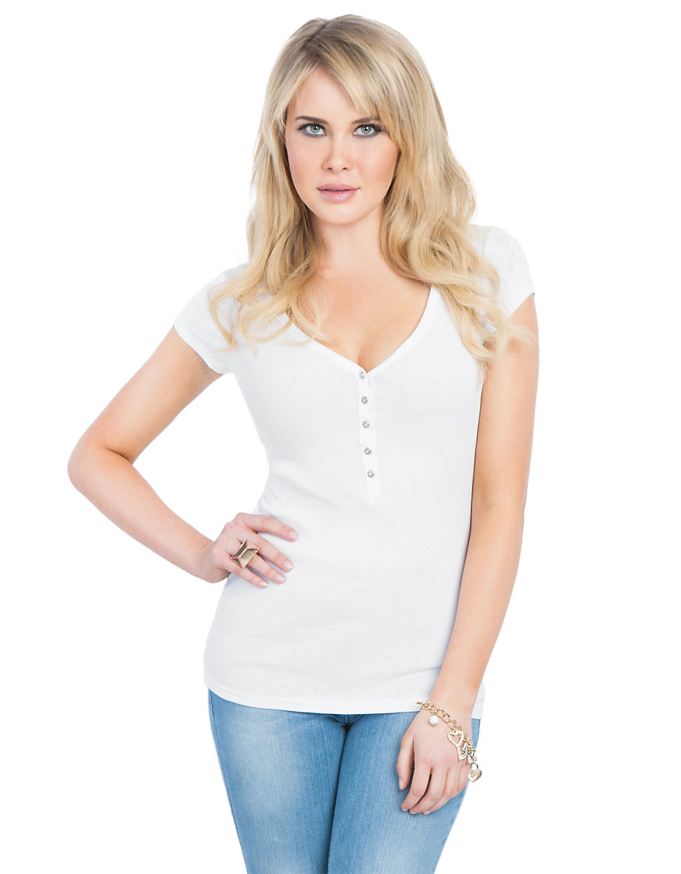 Guess The Perfect Henley white XLarge