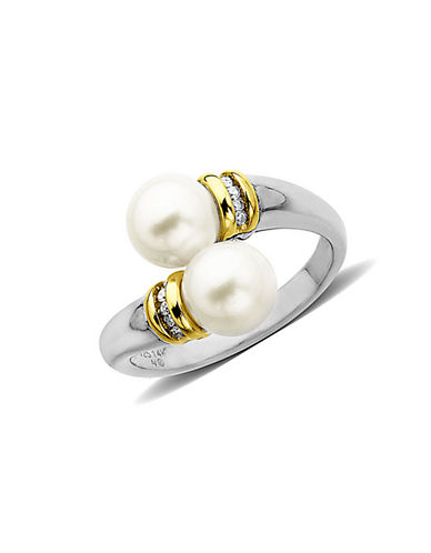 Fine Jewellery 14K Yellow Gold and Sterling Silver Diamond and Pearl Ring-PEARL-7