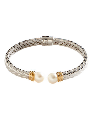 Fine Jewellery Sterling Silver  14K Yellow Gold And Pearl Bangle-PEARL-One Size