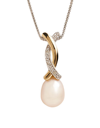 Fine Jewellery Sterling Silver 14K Yellow Gold Diamond And Pearl Heart Pendant-PEARL-One Size