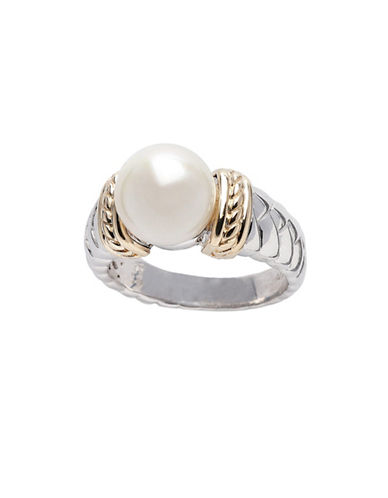 Fine Jewellery Sterling Silver 14K Yellow Gold Pearl Ring-PEARL-7