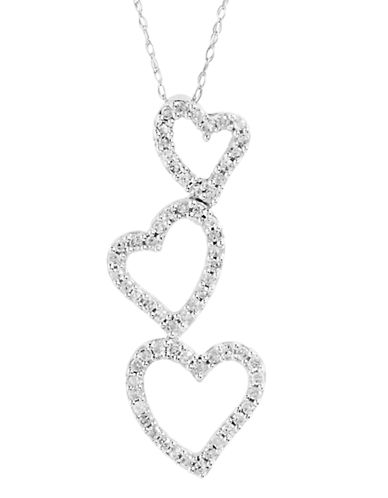 Fine Jewellery 14K White Gold Triple Heart Diamond Pendant-DIAMOND-One Size