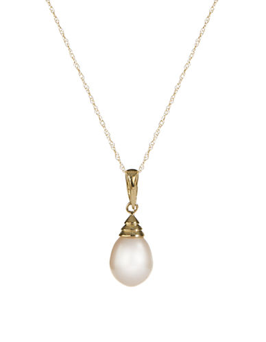 Fine Jewellery 10K Yellow Gold Pearl Pendant Necklace-GOLD-One Size