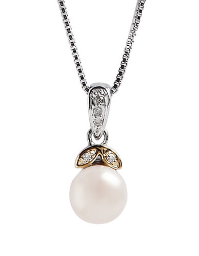Fine Jewellery Sterling Silver 14K Yellow Gold Diamond And Pearl Pendant-PEARL-One Size