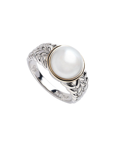 Fine Jewellery Sterling Silver  14K Yellow Gold And 10mm Pearl Ring-GOLD/SILVER-7