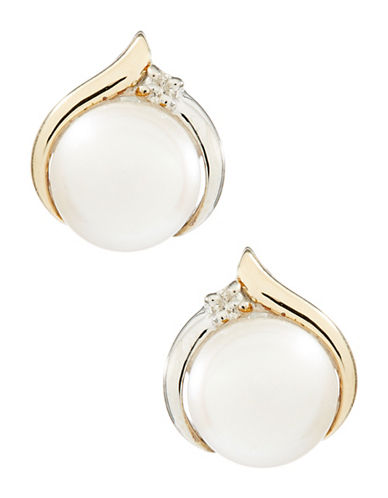 Fine Jewellery 14K Yellow Gold and Sterling Silver Pearl Diamond Earrings-PEARL-One Size
