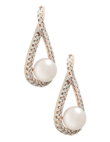 Fine Jewellery 10K Yellow Gold Diamond And Half Drill Pearl Earrings-PEARL-One Size