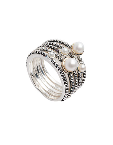 Fine Jewellery Sterling Silver  14K Yellow Gold And 2mm-5mm Pearl Stackable Rings-PEARL-7