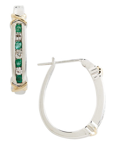 FINE JEWELLERY Sterling Silver, 14K Yellow Gold, Emerald And White Topaz Hoop Earrings emerald