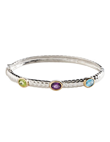 Fine Jewellery Sterling Silver 14K Yellow Gold And Multi Coloured Gemstone Bangle-MULTI COLOURED-One Size