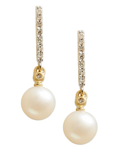 Fine Jewellery 10K Gold Diamond And 6mm Pearl Earrings-PEARL-One Size