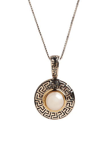 Fine Jewellery 14K Yellow Gold and Sterling Silver Round Pearl Pendant-GOLD/SILVER-One Size