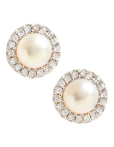 Fine Jewellery 10K Yellow Gold Diamond And 4mm Pearl Earrings-PEARL-One Size