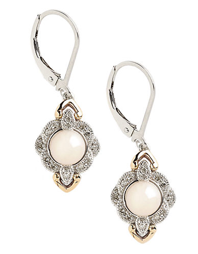 Fine Jewellery Sterling Silver 14K Yellow Gold Diamond And 6mm Pearl Earrings-PEARL-One Size