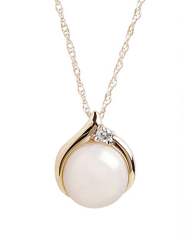 Fine Jewellery 10K Yellow Gold  Diamond And Pearl Pendant-PEARL-One Size