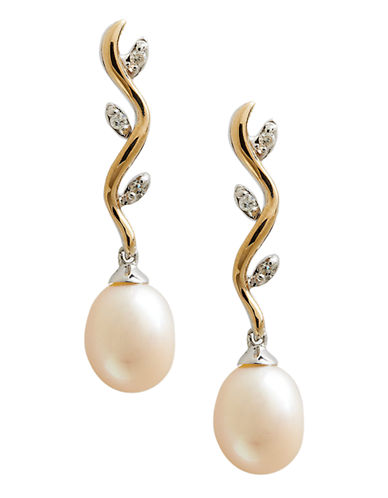 Fine Jewellery 14K Yellow Gold Sterling Silver Diamond And 7mm Pearl Earrings-PEARL-One Size