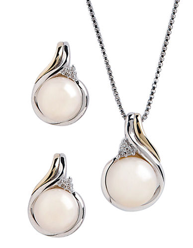 Fine Jewellery 14K Yellow Gold and Sterling Silver 0.36ct  Diamond and Pearl Earring and Pendant Set-PEARL-One Size