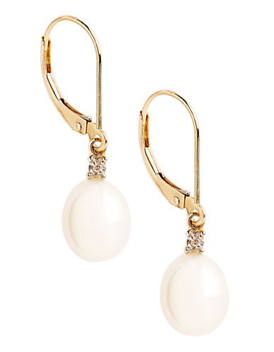 Fine Jewellery 10K Yellow Gold Diamond And 10mm Pearl Drop Earrings-PEARL-One Size
