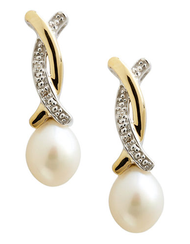 Fine Jewellery 14K Yellow Gold Sterling Silver Diamond And 9mm Pearl Drop Earrings-PEARL-One Size