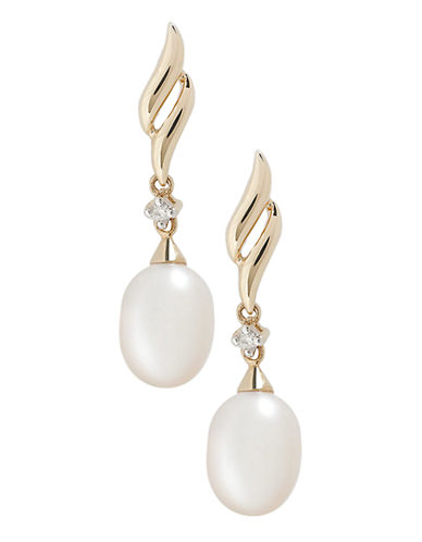 Fine Jewellery 10K Yellow Gold Diamond And Pearl Drop Earrings-PEARL-One Size