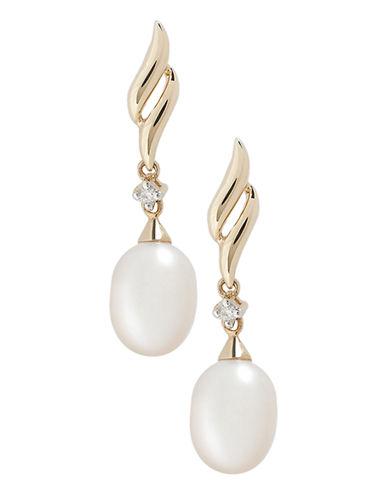Fine Jewellery 10K Yellow Gold Diamond And Pearl Drop Earrings-PEARL-One Size